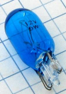 Žiarovka W5W 12V 5W  W2,1x9,5d celosklenená modrá