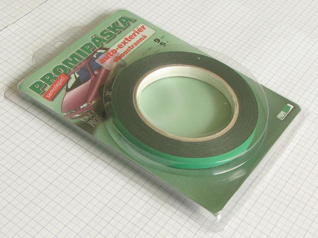 Obojstranná lepica páska 9mm x 1mm x 5m - čierna