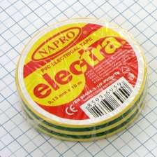 Elektro izolačná páska PVC 15mm x 10m - žltozelená