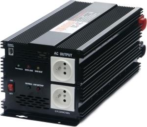 Menič napätia + dobíjačka akumulátorov z 12V na 230V 2500W