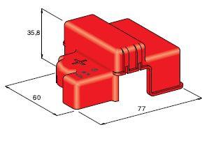 Kryt izolačný na svorku 3-skrutkovú - červený