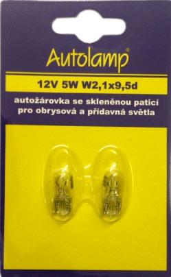 Žiarovka W5W 12V 5W W2,1x9,5d celosklenená blister 2ks