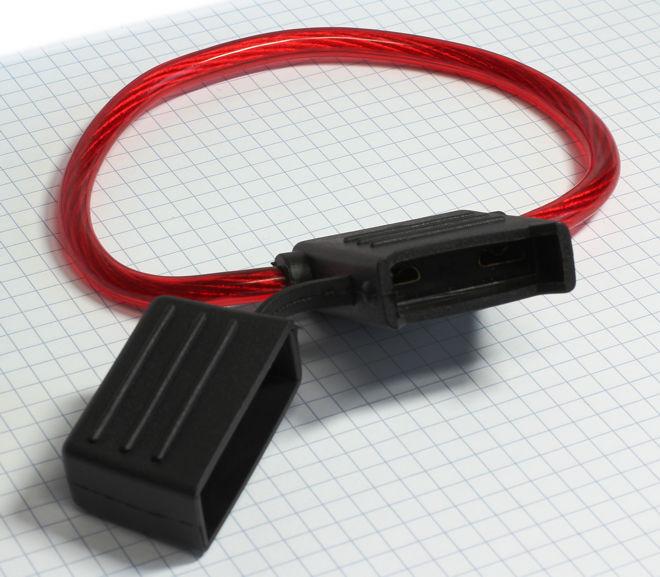 Vodotesný držiak nožovej MAXI auto poistky s vodičom 10 mm2 - max. 60A
