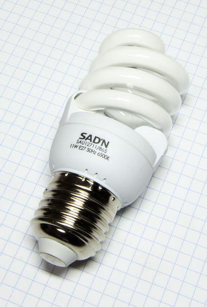 Žiarovka E27 50W (11W) 230V Mini špirála studená biela 6500K